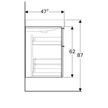 Dulap baza Geberit iCon 120cm cu patru sertare, gri platin lucios
