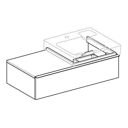 Dulap baza Geberit iCon 89cm, blat dreapta si un sertar, gri platin lucios