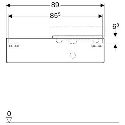 Dulap baza Geberit iCon 89cm, blat dreapta si un sertar, negru lava mat