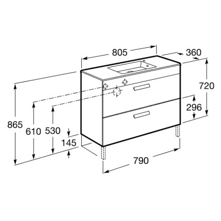 Set mobilier Roca Debba Compact dulap baza cu 2 sertare 80x36cm alb si lavoar