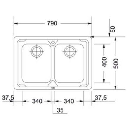 Set Franke inox: Chiuveta Logica Line LLX 620 cu 2 cuve, 790x500mm + Baterie bucatarie Fox Pro cu pipa flexibila
