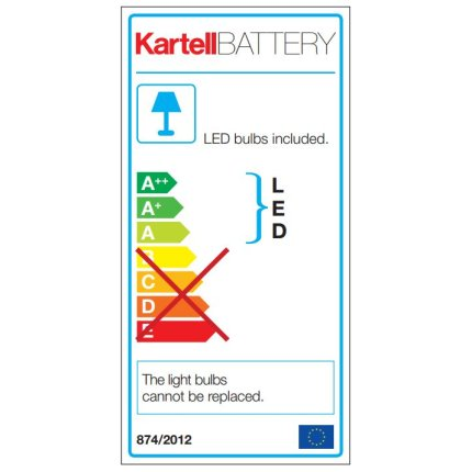 Veioza Kartell Battery design Ferruccio Laviani, LED 0.8W, h22cm, crom metalizat