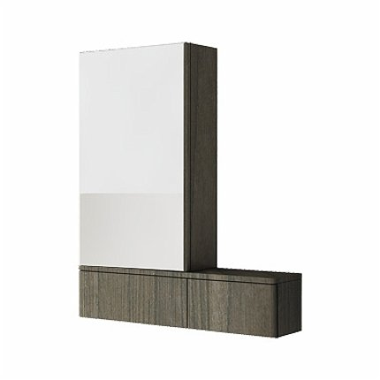 Dulap cu oglinda stanga Kolo Nova PRO 70.8 x85 x17.6cm, gri cenusiu