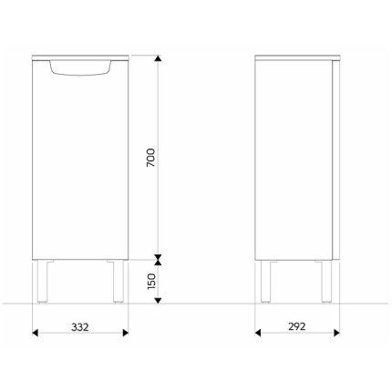 Dulap suspendat Kolo Rekord 33.2x70x29.2cm, 1 usa cu inchidere lenta, alb lucios