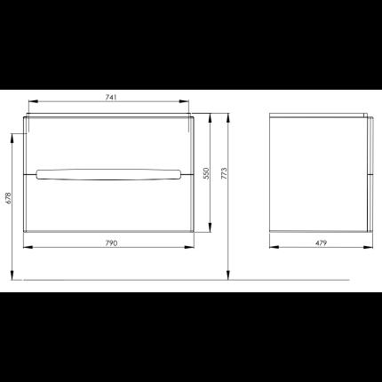 Dulap baza Kolo Modo 80cm, alb lucios