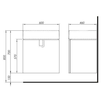 Dulap baza Kolo Twins cu 1 usa cu inchidere lenta, 60cm culoare alb lucios