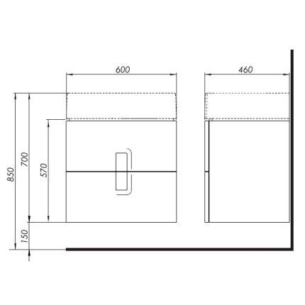 Dulap baza Kolo Twins cu 2 sertare cu inchidere lenta, 60cm culoare gri argintiu