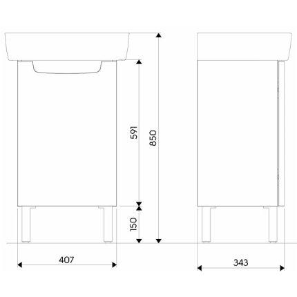 Dulap baza Kolo Rekord 40.7x59.1x34.3cm, 1 usa cu inchidere lenta, alb lucios