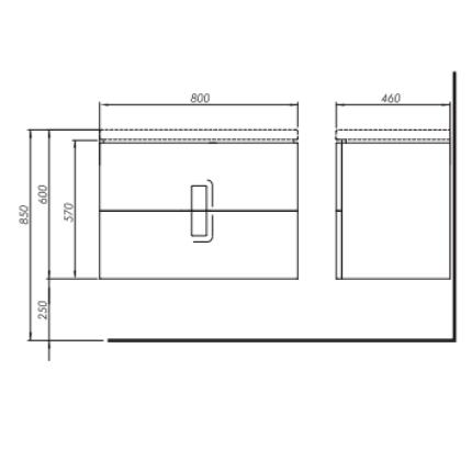 Dulap baza Kolo Twins cu 2 sertare cu inchidere lenta, 80cm, negru mat