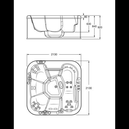 Cada rectangulara Spa Roca Family Broadway 213x213x92cm alb cu panouri