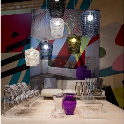 Suspensie Kartell Kabuki design Ferruccio Laviani, LED 15W, h73-268cm, bleu transparent