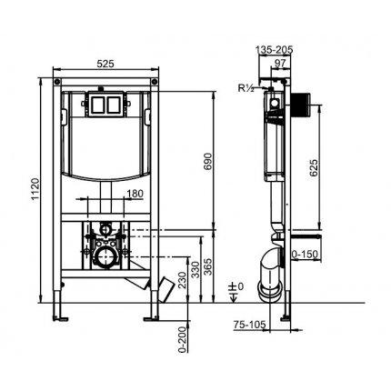 Rezervor incastrat Villeroy & Boch ViConnect si cadru pentru WC suspendat