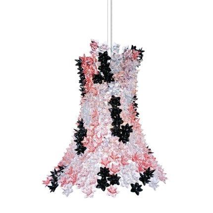 Suspensie Kartell Bloom design Ferruccio Laviani, G9 max 9x33W, d53cm, roz-negru transparent