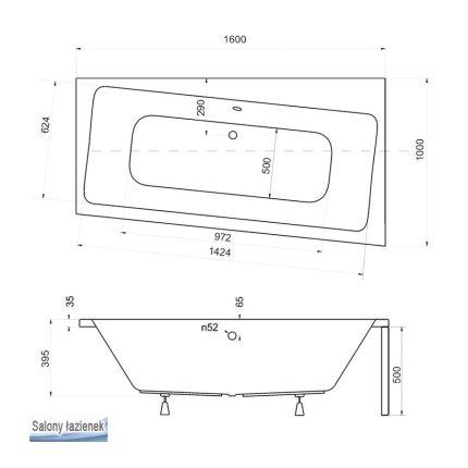 Cada asimetrica Besco Infinity 160x100cm, acril, orientare dreapta