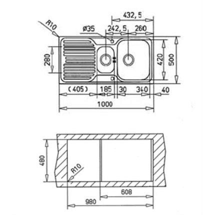 Chiuveta bucatarie Teka Princess 1 1/2 B 1D, 1000x500mm, inox microtexturat