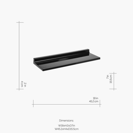 Etajera Kartell by Laufen Shelfish design Ludovica & Roberto Palomba, 45x15cm, negru lucios