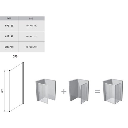 Perete lateral Ravak Concept Chrome CPS-90, 90cm, alb