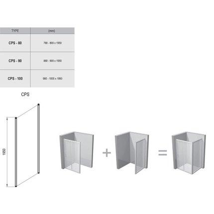 Perete lateral Ravak Concept Chrome CPS-80, 80cm, crom lucios