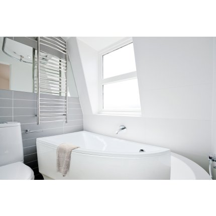 Cada baie asimetrica Besco Praktika 150x70cm, acril, orientare stanga