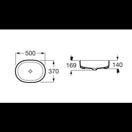 Lavoar tip bol Roca Inspira Round 50x37x14cm, fara orificiu baterie, fara preaplin, montare pe blat