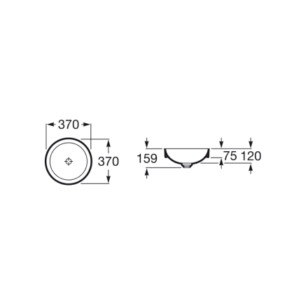 Lavoar tip bol Roca Inspira Round 37x37x7.5cm, fara orificiu baterie, fara preaplin, montare in blat