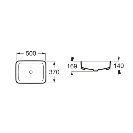 Lavoar tip bol Roca Inspira Square 50x37x14cm, fara orificiu baterie, fara preaplin, montare pe blat