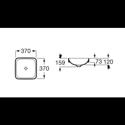 Lavoar tip bol Roca Inspira Square 37x37x7.3cm, fara orificiu baterie, fara preaplin, montare in blat