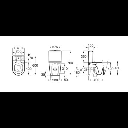 Vas WC Roca Inspira Round Compact 60x37cm, back-to-wall