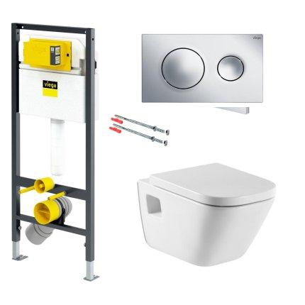 Set vas WC suspendat Roca The Gap, capac inchidere lenta si rezervor incastrat Viega Prevista, clapeta crom