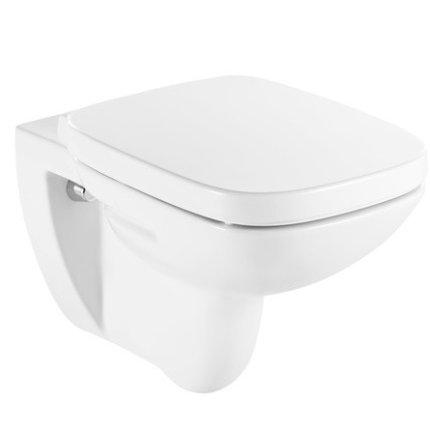 Set vas wc suspendat Roca Debba cu capac inchidere lenta, rezervor si clapeta crom lucios