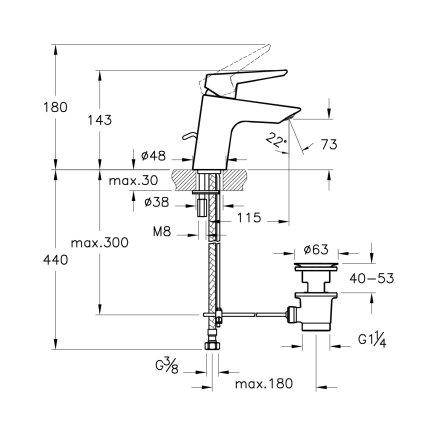 Baterie lavoar Vitra Solid S 14.3cm, ventil pop-up