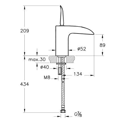 Baterie lavoar Vitra seria T4 cu perlator cascada, fara ventil
