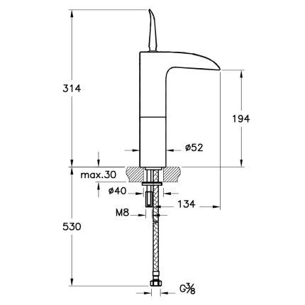 Baterie lavoar Vitra seria T4 cu perlator cascada, pentru lavoare tip bol, fara ventil