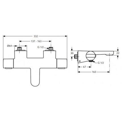 Baterie cada termostatata Ideal Standard Ceratherm 200