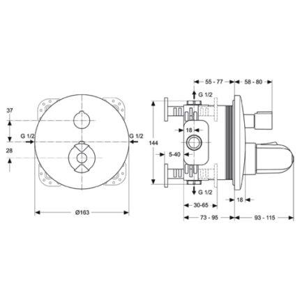 Sistem de dus incastrat termostatat Ideal Standard Ceratherm IdealRain Evo cu 2 consumatori