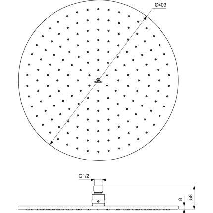 Palarie de dus Ideal Standard Ideal Rain Round 400x400, auriu periat