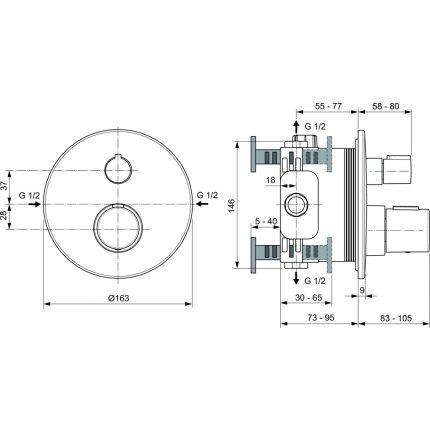 Baterie dus termostatata IdealStandard Ceratherm T100 montaj incastrat, necesita corp ingropat, negru mat