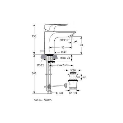 Baterie lavoar Ideal Standard Strada, ventil pop-up