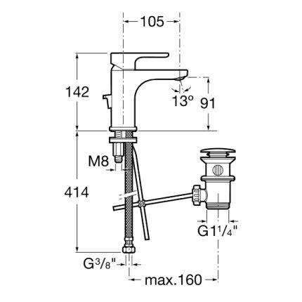 Baterie lavoar Roca L20 cu maneta XL, sistem Cold Start, ventil pop-up
