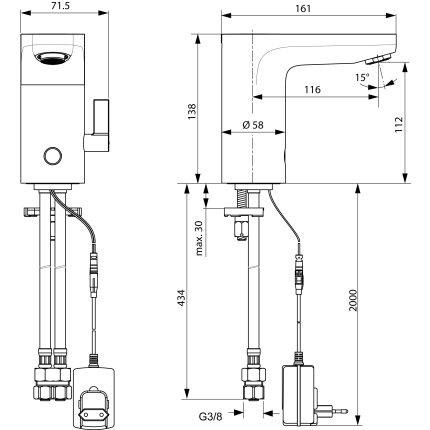 Baterie lavoar Ideal Standard CeraPlus electronica, alimentare la retea si reglaj manual al temperaturii, fara ventil
