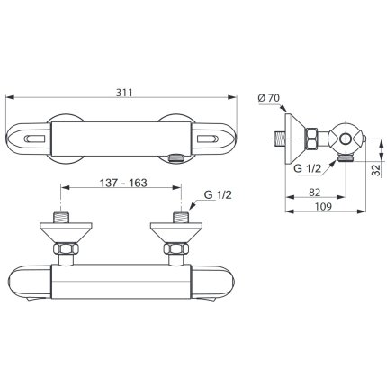 Baterie dus termostatata Ideal Standard Ceratherm 25