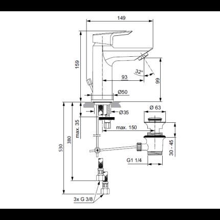 Set baterii 3in1 Ideal Standard Tesi, include baterie lavoar, baterie cada si set de dus