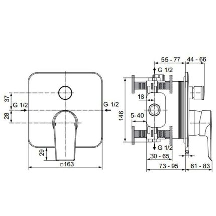 Sistem de dus incastrat Ideal Standard Tesi IdealRain 300 cu 2 consumatori