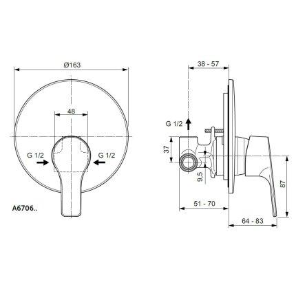 Baterie dus Ideal Standard IdealStream, montaj incastrat, corp ingropat inclus