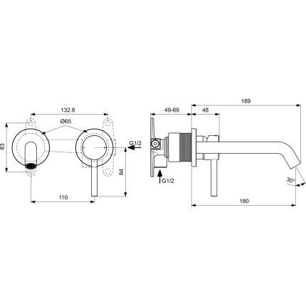 Baterie lavoar Ideal Standard Ceraline de perete, pipa 213mm, necesita corp ingropat, negru mat