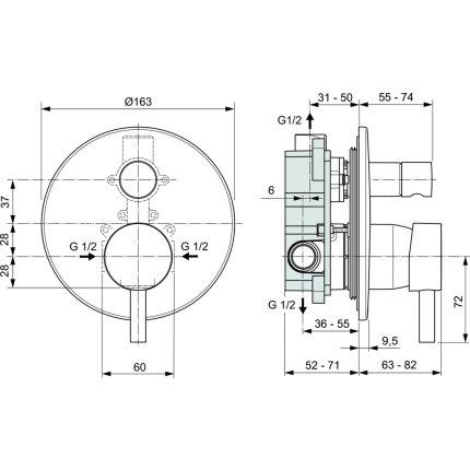 Baterie cada Ideal Standard Ceraline montaj incastrat, include corp incastrat, negru mat