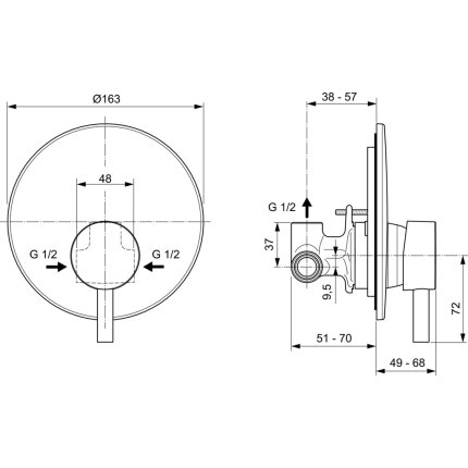 Baterie dus Ideal Standard Ceraline montaj incastrat, include corp incastrat, negru mat