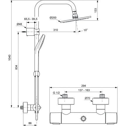 Coloana de dus Ideal Standard Ideal Rain Soft cu baterie termostatata