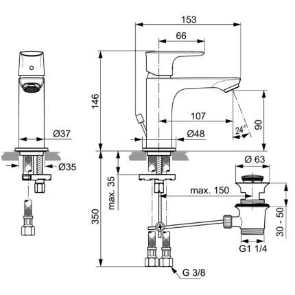 Baterie lavoar Ideal Standard Connect Air, ventil pop-up
