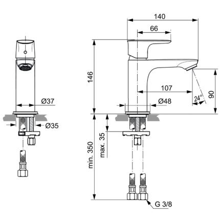 Baterie lavoar Ideal Standard Connect Air
